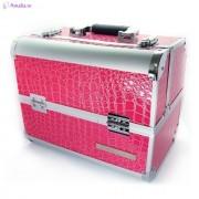 Geanta make-up piele model medie - Roz
