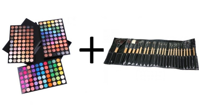 KIT MAKE-UP Trusa 180 Culori + Set 24 Pensule