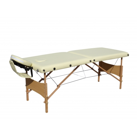 Pat Masaj Pliabil structura Lemn,2 sectiuni,Beige,piele ecologica,186 x 68 cm