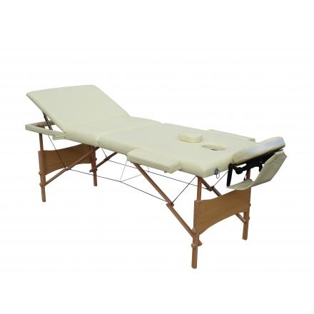 Pat Masaj Pliabil structura Lemn,3 sectiuni,Beige,piele ecologica,186 x 68 cm