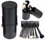 Pensule make-up negre set 12 Lila Rossa cu borseta